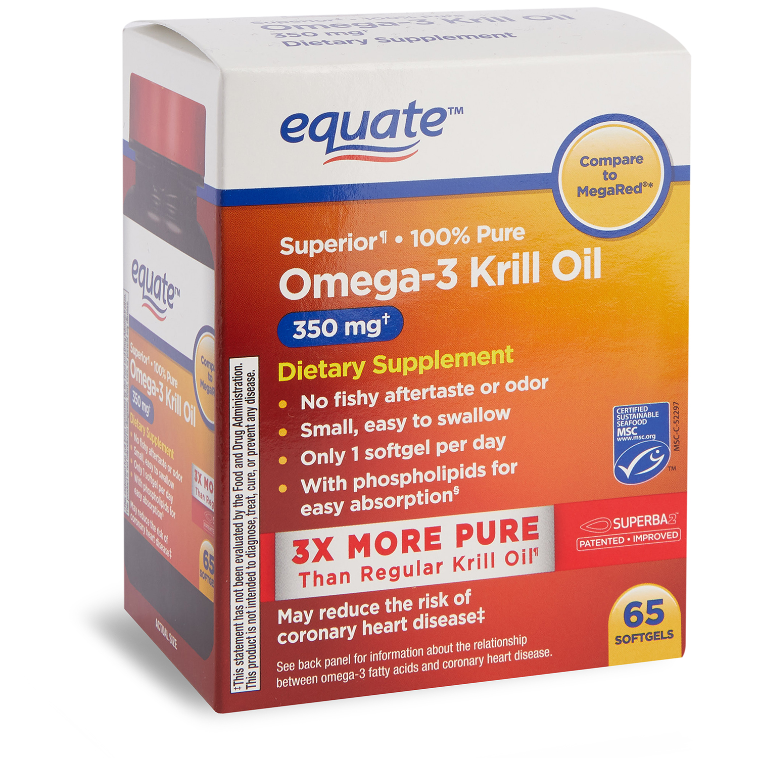 Equate Superior Omega-3 Krill Oil Softgels, 350 Mg, 65 Ct