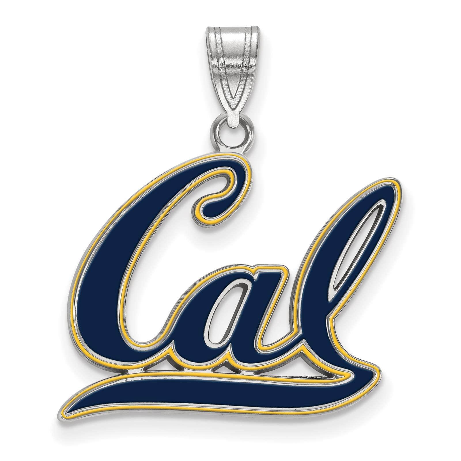 925 Sterling Silver Rhodium-plated Laser-cut University of California Berkeley Football Pendant