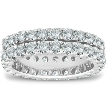 3 1/2 ct Diamond Double Row Eternity Ring Womens Wedding Band 14k White Gold 8mm Double Row Band Ring