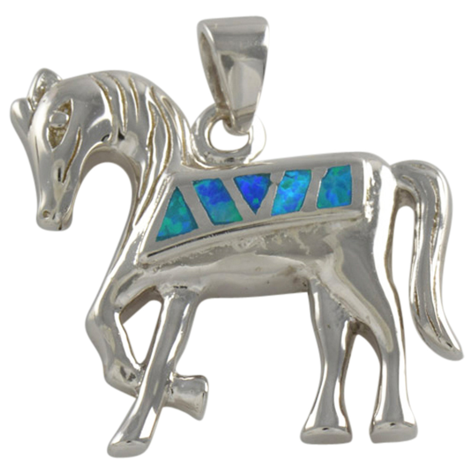 Sterling Silver Blue Created Opal Horse Pendant 925 Silver Jewelry