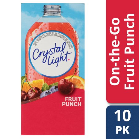 Crystal Light On-The-Go Fruit Punch Drink Mix Packets, 10 - 0.09 oz Packets (Pack of 12)