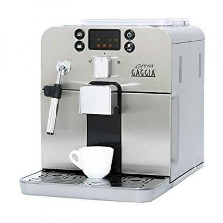 Gaggia Brera Super Automatic Espresso Machine in Silver. Pannarello Wand Frothing for Latte and Cappuccino Drinks. Espresso from Pre-Ground or Whole Bean