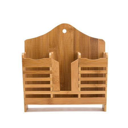 THY COLLECTIBLES Bamboo Utensil Caddy Flatware - Holder for Spoons, Knives, Forks, Chopsticks Silverware Organizer Home, Restaurant, Camper, Hang On Wall Or Table ()