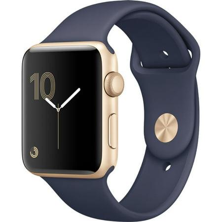 Refurbished Bottom Case (Refurbished Watch Series 2 42mm Apple Gold Aluminum Case Midnight Blue Sport Band MQ152LL/A )