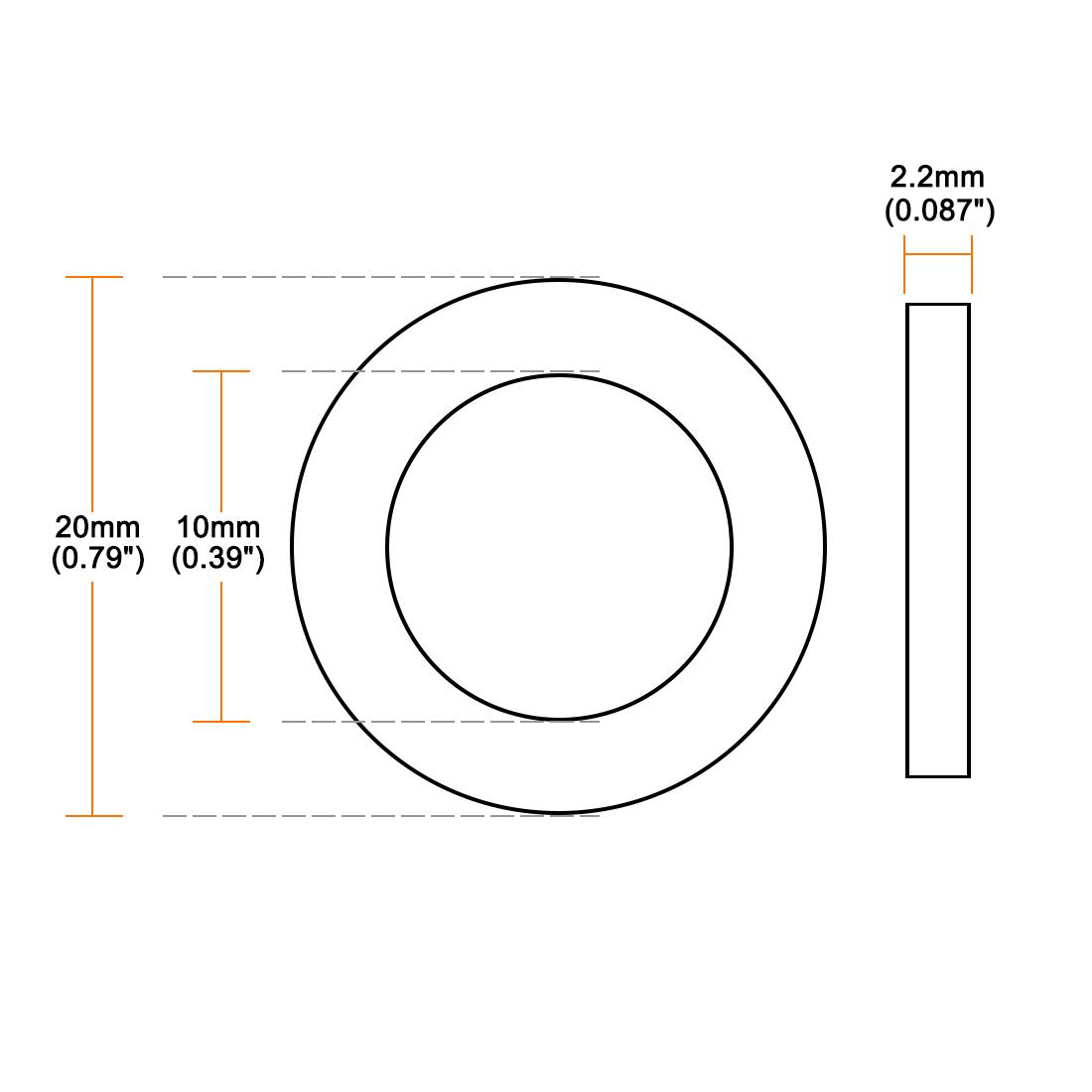 Rubber Flat Washers, 10mm Inner Diameter 20mm OD 2.2mm Thick 20pcs - image 3 de 4