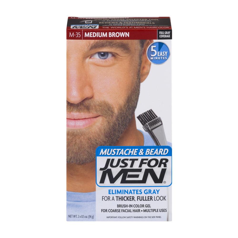 Just For Men Mustache & Beard Brush-In Color Gel M-35 Medium Brown, 0.5 OZ