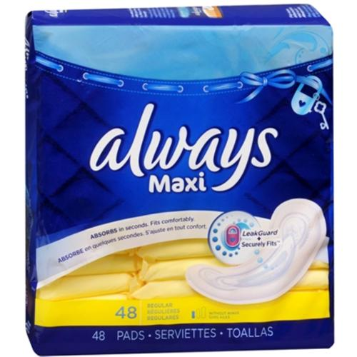 Always Maxi Pads without Wings, Unscented, Regular 48 ea (Pack of 2)