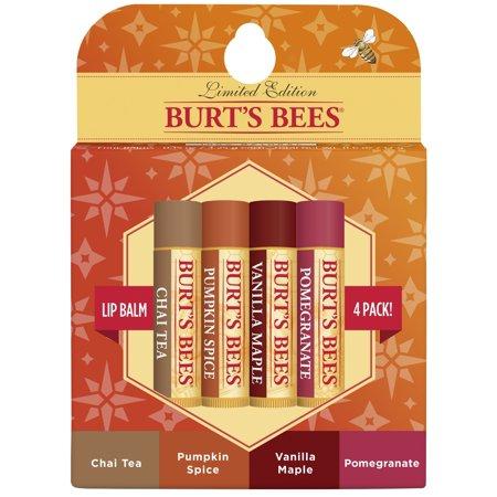 Burt's Bees 100% Natural Moisturizing Lip Balm, Holiday Pack - Chai Tea, Pumpkin Spice, Vanilla Maple, Pomegranate - 4 Tubes