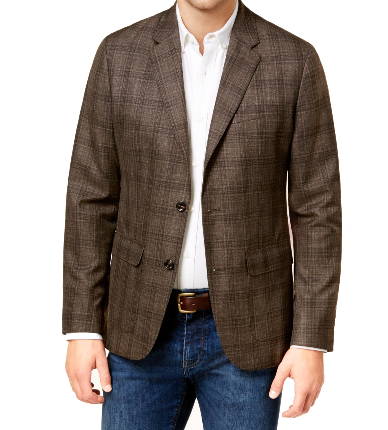Michael Kors Mens Regular Plaid Two Button Blazer