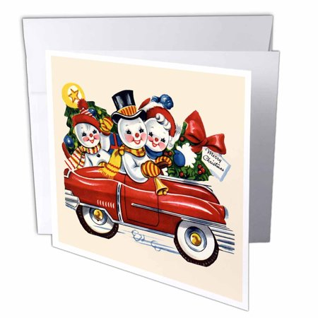 3dRose Cartoon Snow People Family in Red Car with Christmas Tree and Wreath, Greeting Cards, 6 x 6 inches, set of (Best Family Car For 5 People)