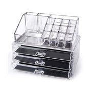 """Clear Acrylic Makeup Organizer Cosmetic Organizer And Large 3 Drawer Jewerly Chest (10""""x6""""x7.7"""")"""