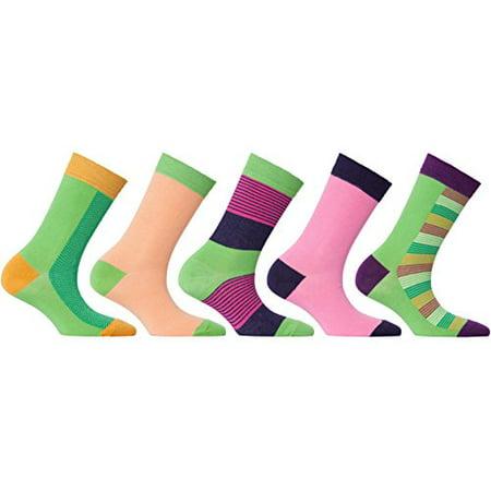 30d26a10e29cd socks-n-socks - socks n socks - women's 5-pairs luxury cotton cool funky  colorful fashion designer fun argyle crew socks with gift box - Walmart.com