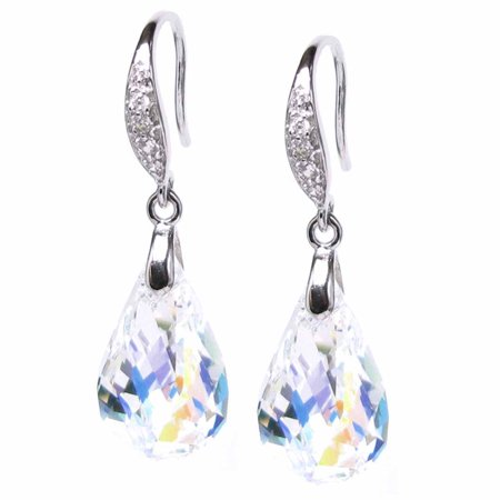 Sterling Silver Aurora Borealis Swarovski Elements Helix Crystal Cubic Zirconia  Dangle Earrings