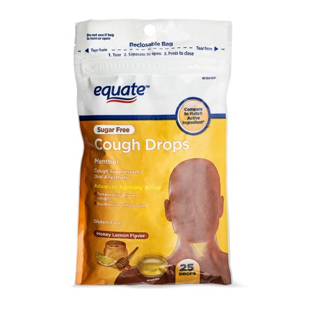 equate sugar free cough drops cough suppressant honey lemon flavor