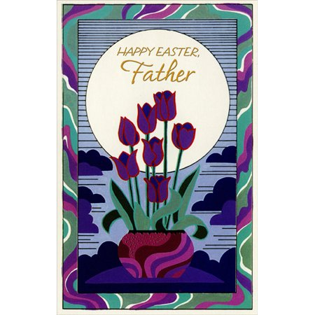 Freedom Greetings Purple & Red Tulips in Pot: Father Easter Card