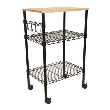 Best Choice Products Rolling Wooden Storage Cart w/ Drawer, Shelves ...