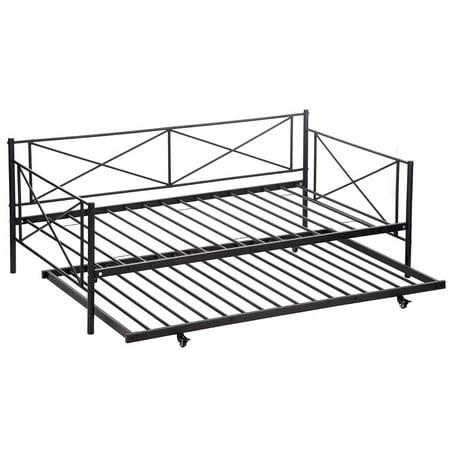twin size metal framed daybed with trundle metal sofa bed frame hom. Black Bedroom Furniture Sets. Home Design Ideas