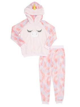 Saint Eve Girls' Unicorn Hooded 2-piece Pajama Set