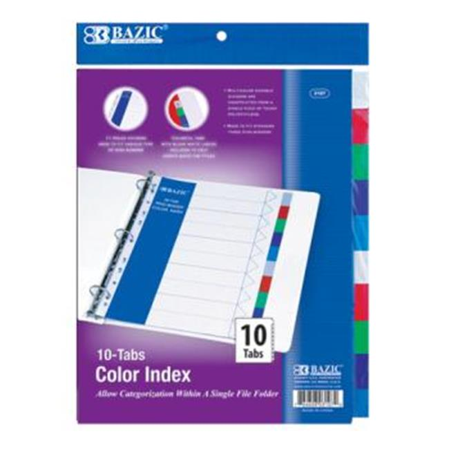 DDI 313724 Bazic 3-Ring Binder Dividers with 10-Color Tabs Case of 24