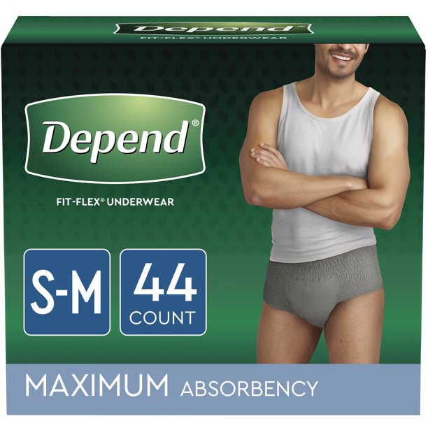Depend Fit-Flex Incontinence Underwear for Men, Maximum Absorbency, Small/Medium, Grey, 44 Count
