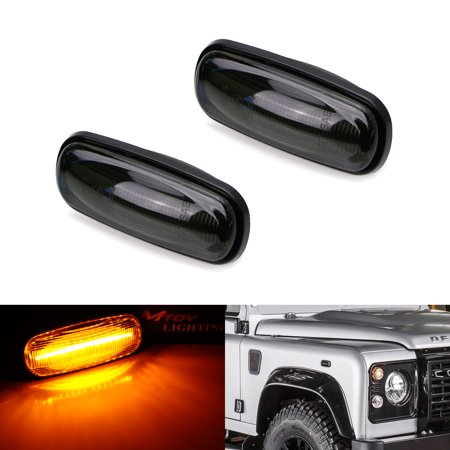 iJDMTOY (2) Smoked Lens 16-SMD Amber Full LED Side Marker Lamp Assembly For 1998-2015 Land Rover Defender, 2002-2005 Freelander and 1998-2004 Discovery 2 LR2