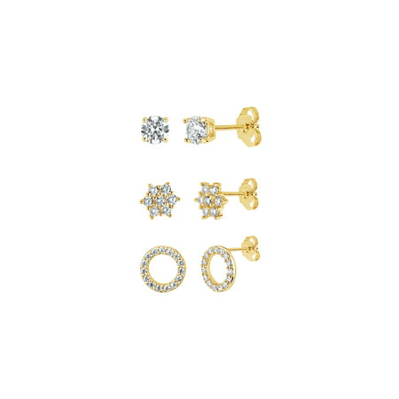 18k Gold Over Sterling Silver White Cubic Zirconia 3 Piece Cluster, Circle and Stud Earrings Set (3 Piece Set Stud Earrings)