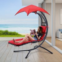 Finether Hammock Chair 275 lbs Load Outdoor/Indoor Hanging Chaise Lounge Chair Garden Patio Hanging Swing Chair with Arc Stand, Canopy and Cushion Red