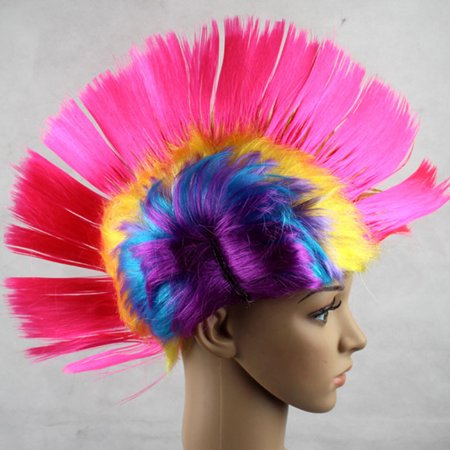 Rainbow Mohawk Hair Wig Rooster Fancy Costume Punk Rock Halloween Party Decor - Jazz Rock Nice Halloween