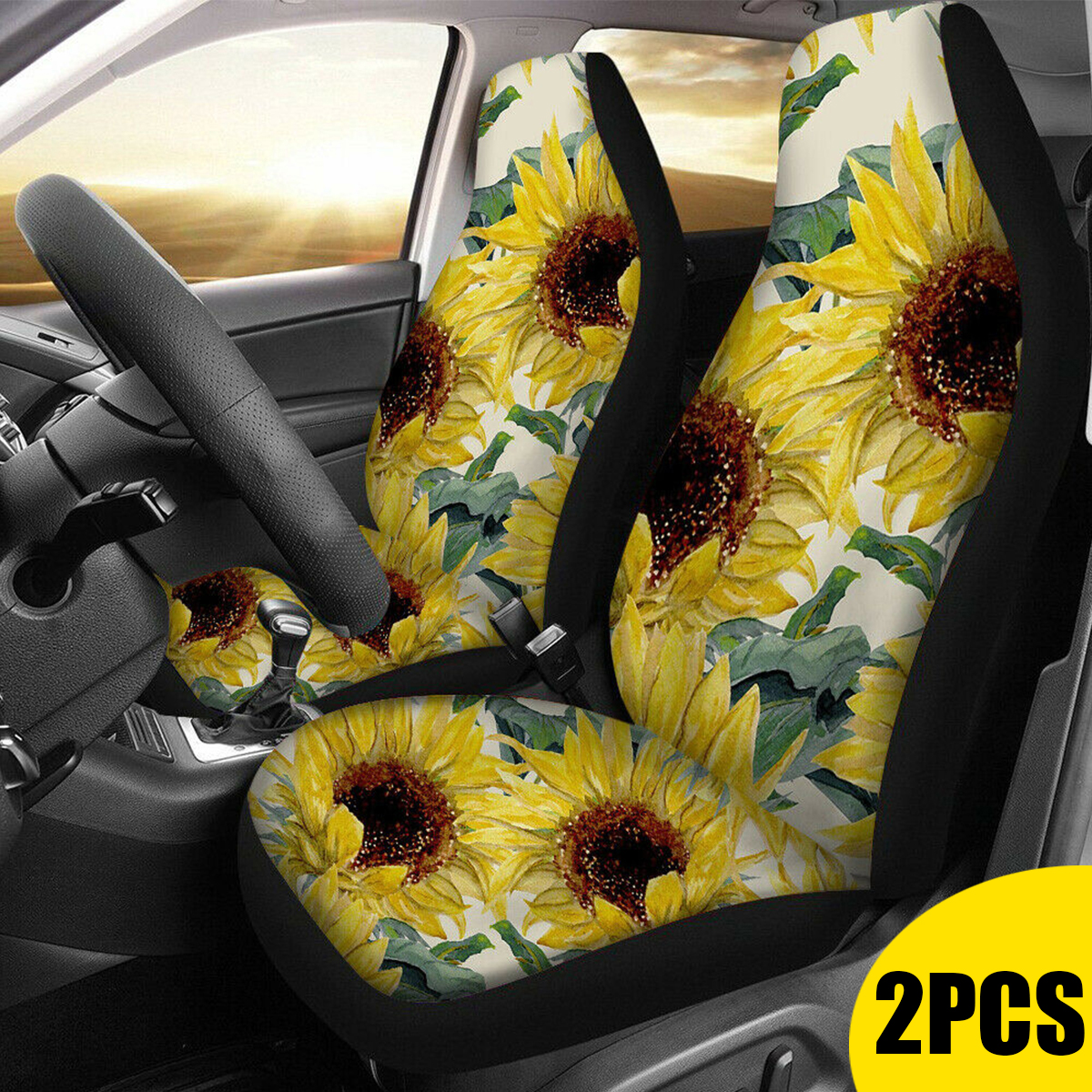 Sunflower 3D Print Car Seat Covers Washable Universal 2pc Front Car Seat Cover Protectors for Most Car Truck SUV Van Black