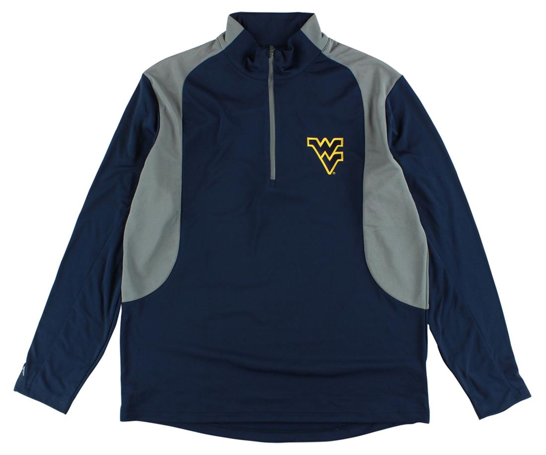 Antigua Mens West Virginia University Delta Quarter Zip Pullover Jacket Blue by Antigua