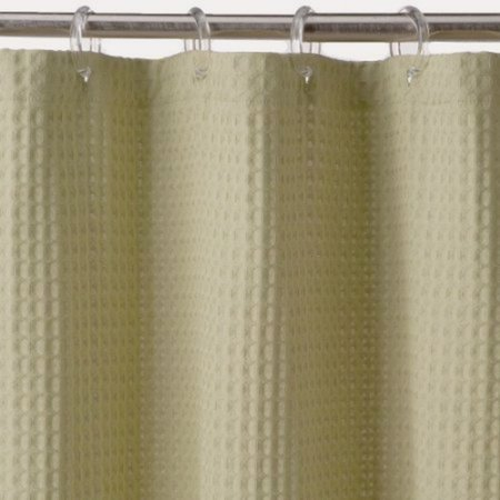 Sonoma Green Waffle Weave Fabric Shower Curtain Cotton Bath