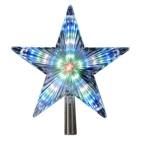"""8.5"""" Blue and Black Star LED Lighted Color-Changing Decorative Christmas Tree Topper"""