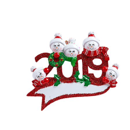 2019 Snowman Family of 5 Personalized Christmas Ornament DO-IT-YOURSELF ()