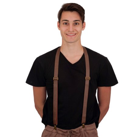 New Mens Womens Brown Faux Leather Steampunk Costume Suspenders for $<!---->
