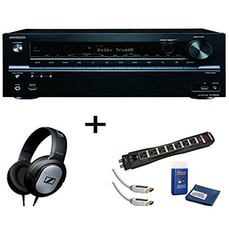 Onkyo TX-NR636 7 2-Channel A/V Receiver, Sennheiser HD201 Headphones Plus  Monster Surge Protector HDMI Bundle