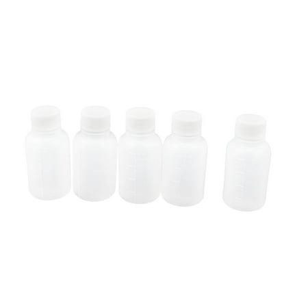 Mini Travel Empty Plastic Alcohol Liquor 20ML Capacity Bottle White 5 Pcs ()