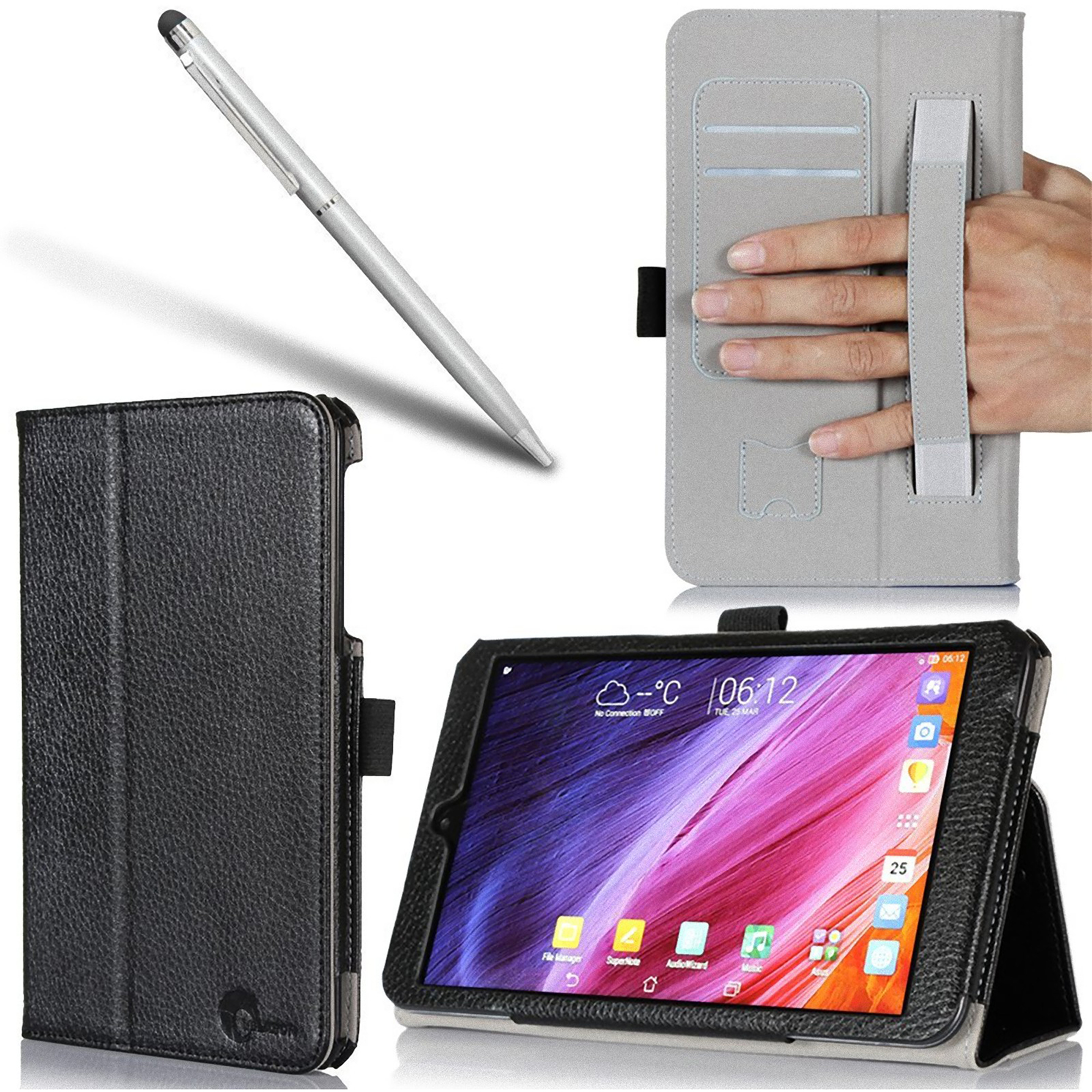 i-Blason ASUS Memo Pad 8 Book PU Leather Case, Black
