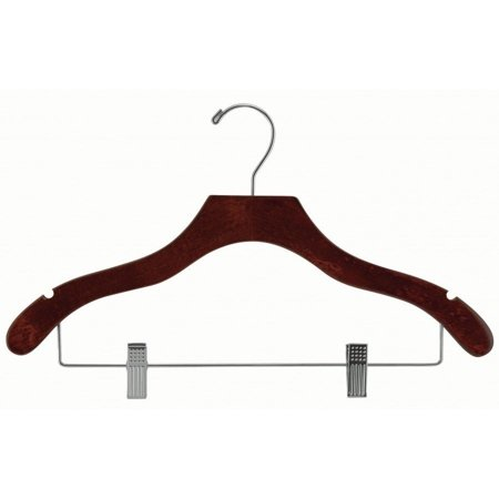 Wavy Wood Combo Hanger w/ Cushion Clips, Box of 50 Space Saving 17 Inch Wooden Hangers w/ Walnut Finish & Chrome Swivel Hook & Notches for Shirt Jacket or Dress by International Hanger