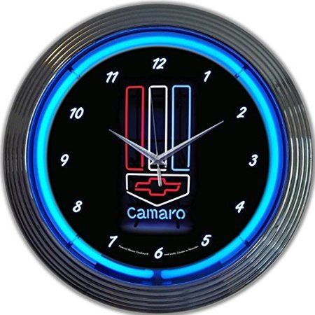 GM Camaro Red White Blue Genuine Electric Neon 15 Inch Wall Clock Glass Face Chrome Finish USA Warranty ()