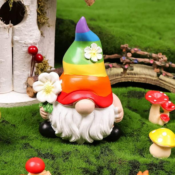Garden Rainbow Gnome Resin Statue, Outdoor Figures For The Garden
