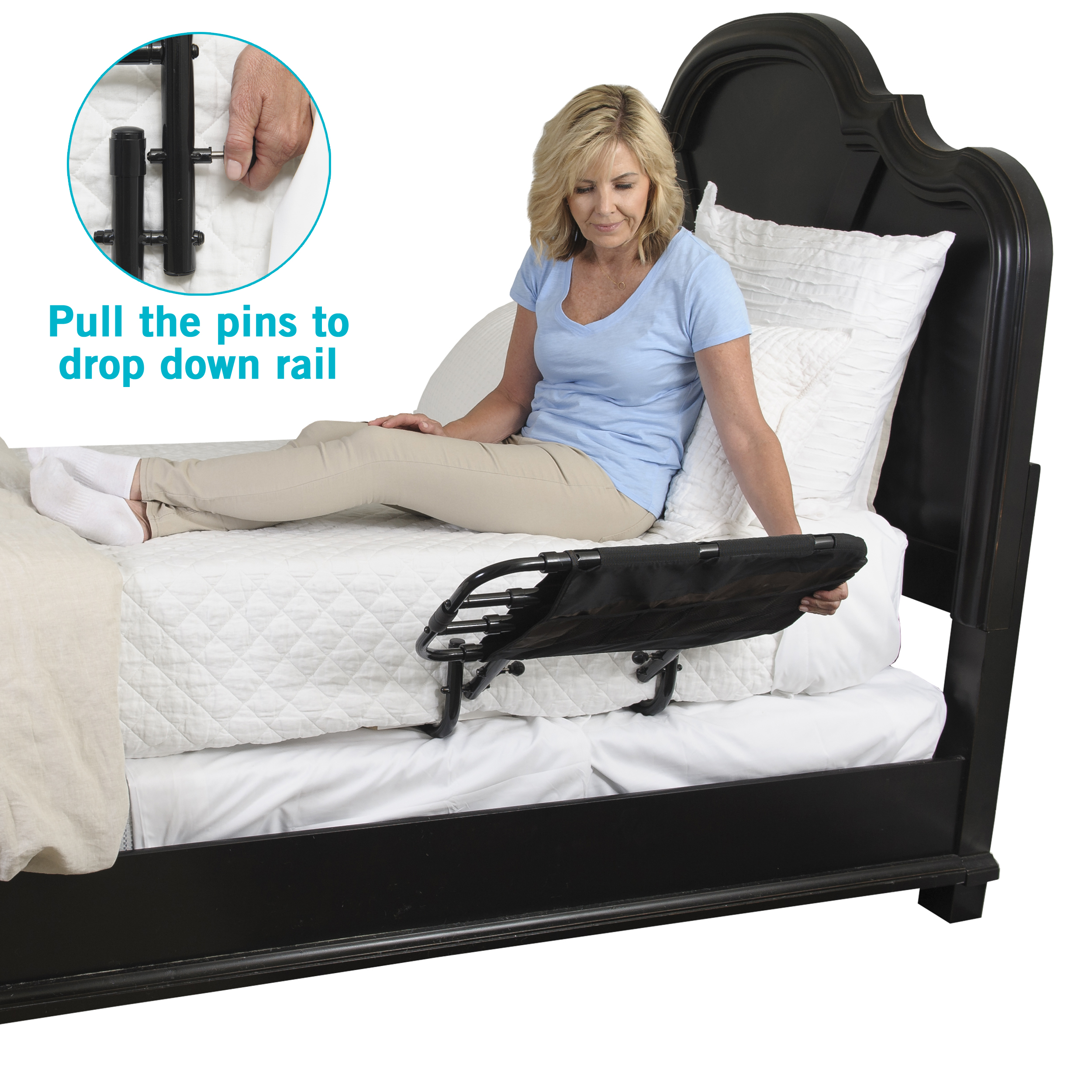 Safety 1st Portable Bed Rail Dark Grey Foldable Prevents Accident Metal Frame