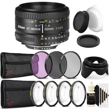 Nikon AF FX NIKKOR 50mm f/1.8D Prime Lens for Nikon D5300 D5500 D5600 D7100 D7200 D7500 with Ultimate Accessory