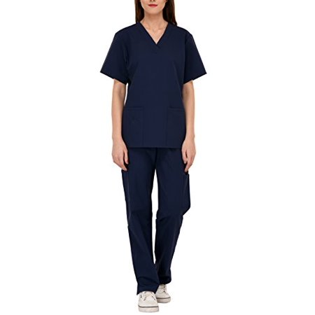 Women's Premium Scrub Sets Six Pocket Medical Scrubs/Scrubs for Women (V-Neck with Cargo Pant) (Blue, S)](Personalized Scrubs For Kids)