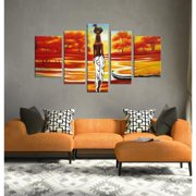 The Lighting Store 'African Scene' Hand-painted Oil on Canvas Art (Set of 5)