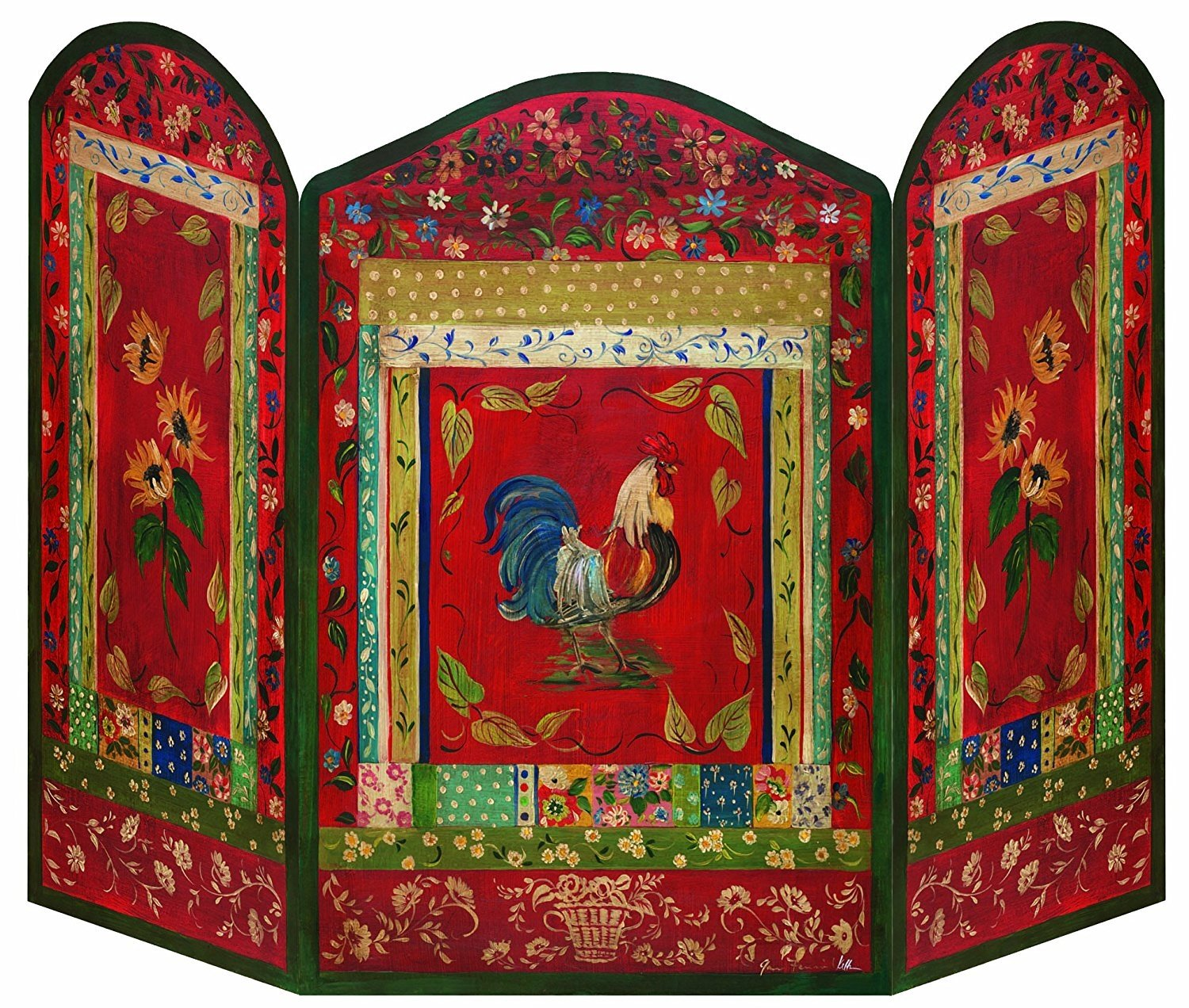 Stupell Home Décor Red Rooster 3-Panel Decorative Fireplace Screen, 44 x 0.5 x 31, Proudly Made in USA by The Stupell Home Decor Collection