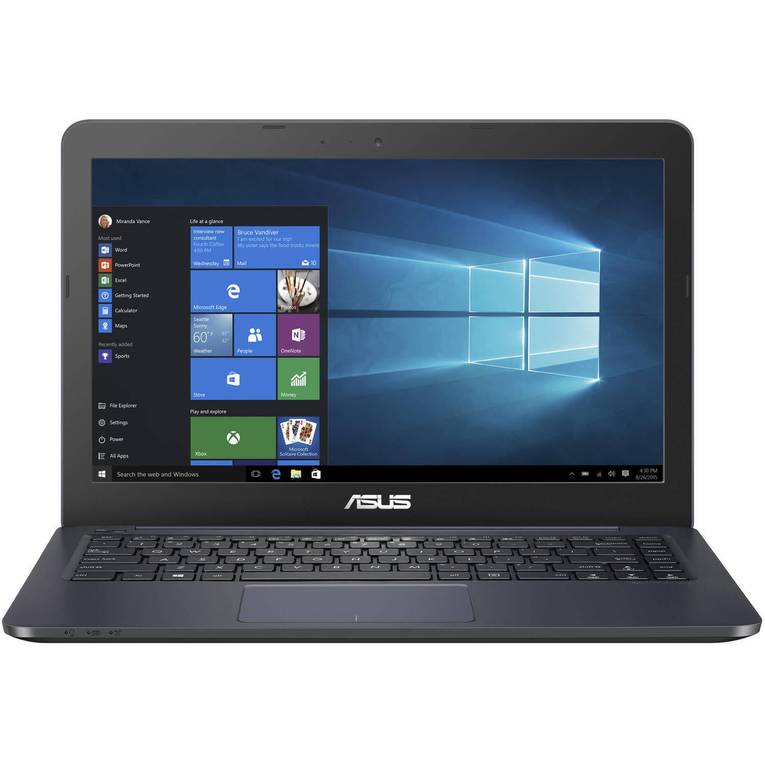 "ASUS L402 14"" Laptop, Windows 10, Office 365 Personal 1-year included, Intel Celeron N3060 Processor, 4GB RAM, 32GB eMMC Drive"