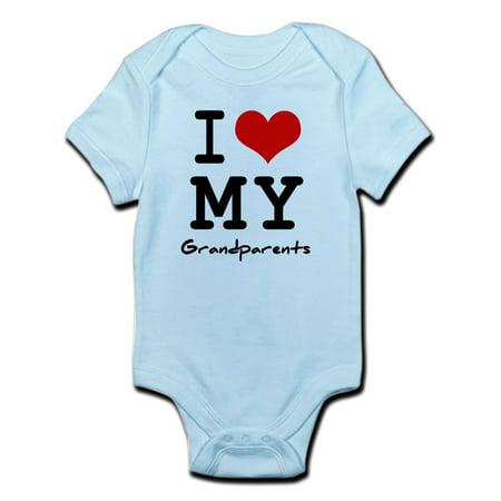 CafePress - I Love My Grandparents Infant Bodysuit - Baby Light Bodysuit - Baby Grandparents Halloween