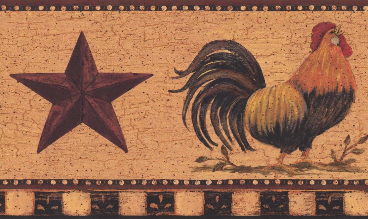 Rooster Mauve Star Merigold Vintage Wallpaper Border Retro Design