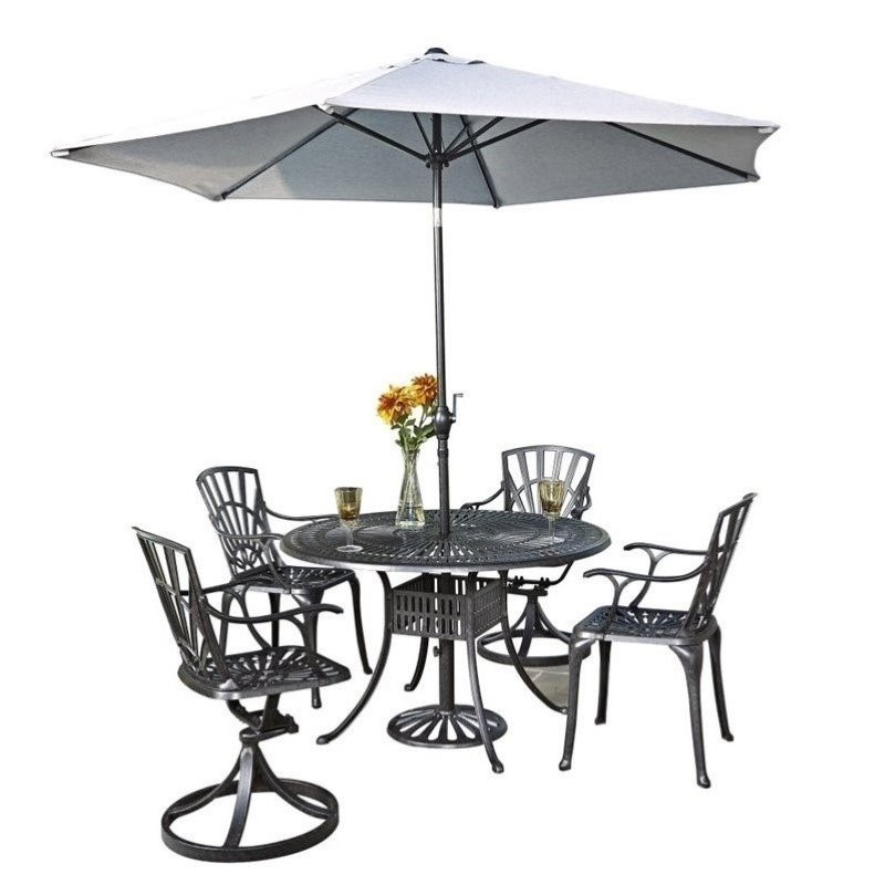 Bowery Hill 6 Piece Patio Dining Room Set with Umbrella in Charcoal by Bowery Hill