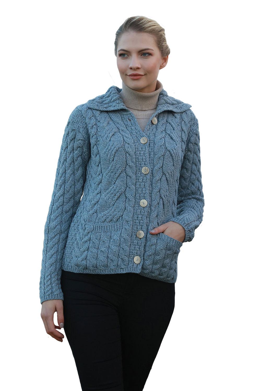 Light Blue Aran Woollen Mills 100/% Merino Wool Throw New